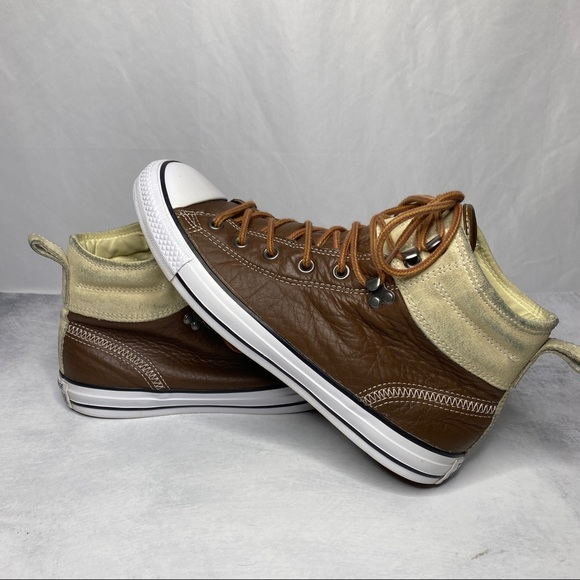 Converse All Star Brown Leather Suede High Top Sneakers